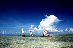 Three sailing boat on a tropical lagoon Royalty Free Stock Photo