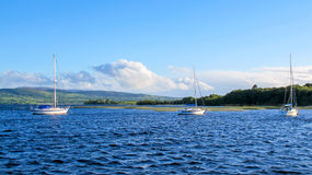 Three sailing boats on lake Stock Photo