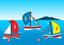 Three sailing boats race on the water Royalty Free Stock Images