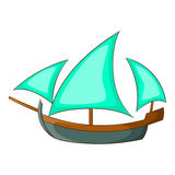 Three sailing wooden ship icon, cartoon style Stock Image