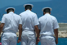 Three Sailors. By the Sea Royalty Free Stock Photos