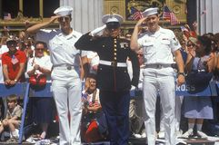Three Sailors Saluting, Ticker Tape Parade, New York City, New York Royalty Free Stock Images