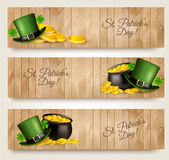 Three Saint Patrick's Day banners with lover leaves Stock Photo