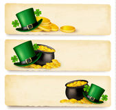 Three Saint Patricks Day banners with lover leaves Stock Images
