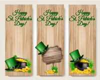 Three Saint Patricks Day banners with lover leaves Royalty Free Stock Image