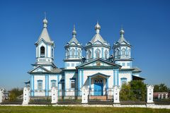 Three Saints Church in Pryluky, Chernihivska oblast, Ukraine. B. Eautiful wooden white building with domes for religious purposes XIX century, Orthodox Church royalty free stock images