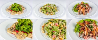 Three salads for christmas table. Three salads with meat, tomatoes crackers, bekon and liver on white plate for celebration table Royalty Free Stock Image