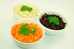 Three Salads in White Bowls Isolated. Salads of Carrot, Sauerkraut and Beetroot in White Bowls Isolated Stock Photography