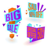 Three sale banners. Collection of bright sale banners. Big sale sticker. Special offer tag. 50 percents off label. Vector, eps10 Royalty Free Stock Photo
