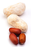 Three salted peanuts Royalty Free Stock Photography