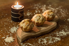 Three salty muffins with sausage, cheese and sesame Royalty Free Stock Photography