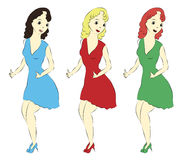 Three same girls in different dresses vector. Three same girls in different dresses show big fingers vector isolated Royalty Free Stock Image
