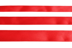 Three samples of red cloth tape Stock Image