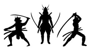 Three samurai stance silhouette a white background Stock Image