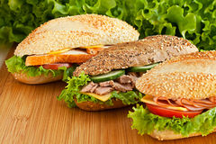 Three sandwich Royalty Free Stock Photos