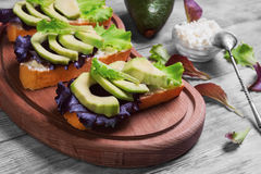 Three sandwiches with avocado Royalty Free Stock Photography