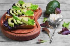 Three sandwiches with avocado Stock Photo