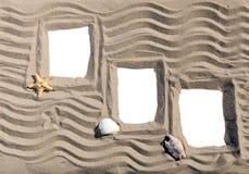 Three sandy photoframes Royalty Free Stock Photography
