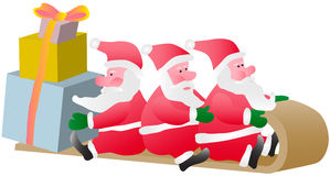 Three Santa. Carry on sledge surprise gifts Royalty Free Stock Images