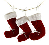 Three Santa boots isolated Royalty Free Stock Image
