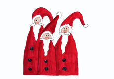 Three santa claus, childrens painting. Isolated on white background stock illustration