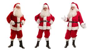 Three Santa Claus in Christmas Costume - Full Length. Christmas Collage of Three Men in Santa Claus Costume - with a Luxurious White Beard, Santa`s Hat and a Red Stock Photo