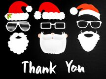 Three Santa Claus Paper Mask, Black Background, Text Thank You