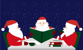 Three Santa Claus reading letters desires. Vector Illustration of Santa Claus. Three of Santa Claus in Lapland accept letters. Merry christmas. Santa drinking Stock Photo