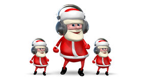 Three Santa Dancing in Headphones stock footage