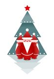 Three Santas and Christmas Tree Royalty Free Stock Photo