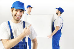 Three satisfied builders during the break Royalty Free Stock Images