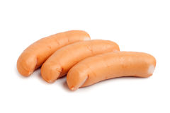 Three sausage isolated on a white. Background stock images