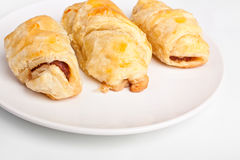 Three sausage rolls Stock Photo
