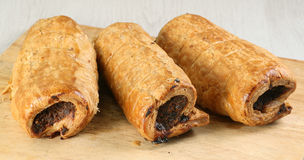 Three sausage rolls Stock Image