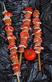 Three Sausage on a skewer Royalty Free Stock Photo