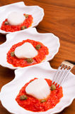 Three scallop shells with ajvar Stock Image