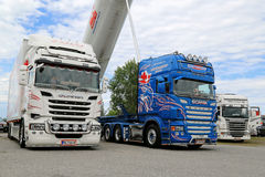 Three Scania Heavy Show Trucks Stock Photography