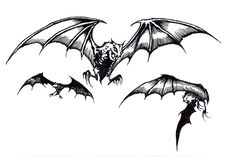 Three Scary Halloween Bats in Flight. Drawing Royalty Free Stock Photography
