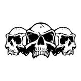 Three scary skulls, silhouette on white background,. Vector royalty free illustration