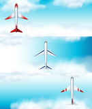 Three scenes of airplane flying at daytime. Illustration Royalty Free Stock Image