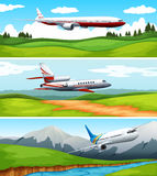 Three scenes of airplane flying over the field. Illustration Royalty Free Stock Photography