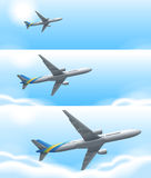 Three scenes of airplane flying in sky. Illustration Royalty Free Stock Images