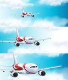 Three scenes with airplane in the sky. Illustration Stock Image