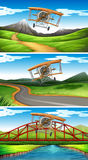 Three scenes of airplanes flying in sky royalty free illustration
