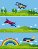Three scenes with airplanes in sky royalty free illustration