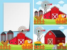 Three scenes with barns and chickens Royalty Free Stock Photos