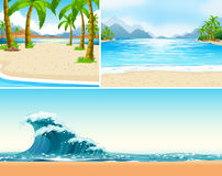 Three scenes of beach and ocean. Illustration Stock Photography