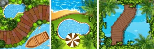 Three scenes with bridge and pond Royalty Free Stock Photo