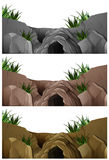 Three scenes of cave in the rocky mountain Stock Photography