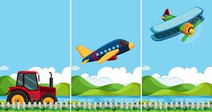 Three scenes with different types of transportation. Illustration Stock Photos